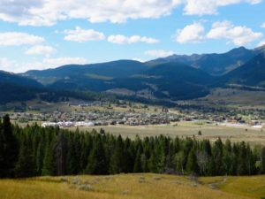 Big Sky Town Center As Seen From Uplands Trail In Big Sky, Montana