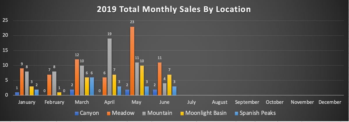 Big Sky Real Estate Market Report - Monthly Sales By Location - June 2019